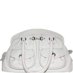 Dior White Leather Detective Handle Shoulder Bag