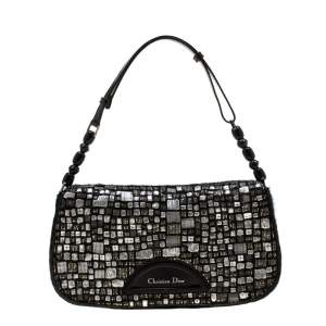Dior Black Embellished Calfhair Maris Pearl Shoulder Bag