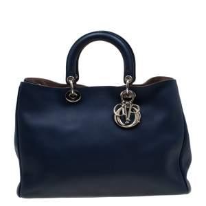 Dior Blue Leather Diorissimo Large Tote Bag