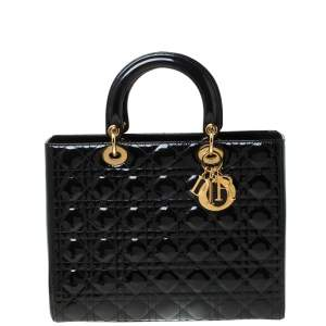 Dior Black Patent Leather Large Lady Dior Tote