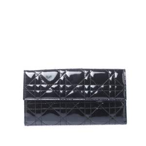 Dior Black Cannage Patent Leather Lady Dior Wallet