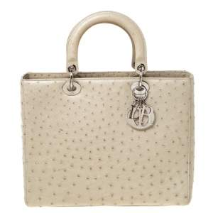 Dior Light Khaki Ostrich Leather Large Lady Dior Tote