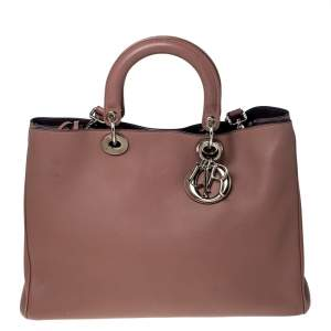 Dior Old Rose Leather Large Diorissimo Shopper Tote