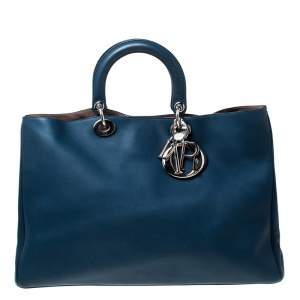 حقيبة يد ديور شوبر ديوريسيمو كبيرة جلد أزرق