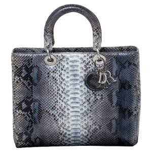Dior Blue/Grey Python Large Lady Dior Tote