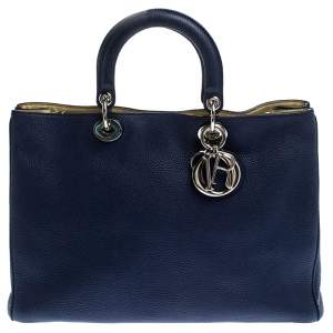 Dior Blue Leather Large Diorissimo Shopper Tote