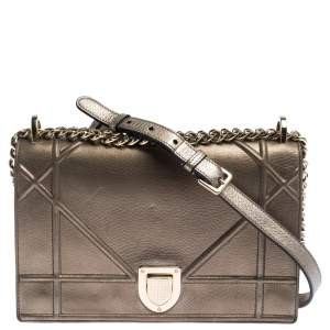 Dior Metallic Leather Medium Diorama Flap Shoulder Bag
