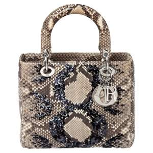 Dior Beige Python and Sequin Medium Lady Dior Tote