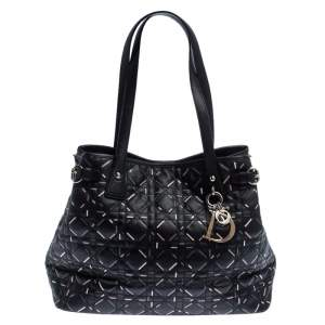 Dior Black Lines Printed Coated Canvas Small Panarea Tote