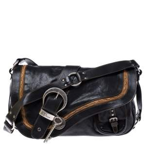 Dior Black/Brown Leather Large Gaucho Double Saddle Shoulder Bag