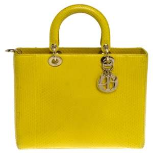 Dior Yellow Python Large Lady Dior Tote