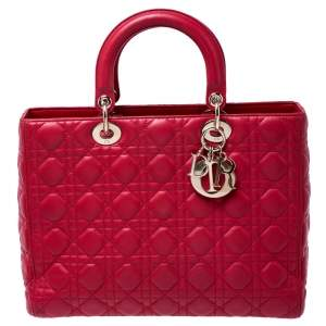 Dior Red Leather Large Lady Dior Tote
