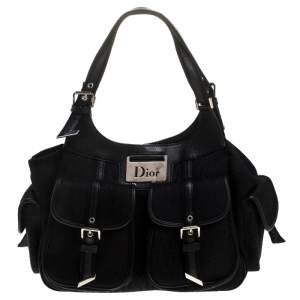 Dior Black Diorissimo Canvas Multi Pocket Shoulder Bag