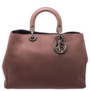 Dior Old Rose Leather Large Diorissimo Shopper Tote