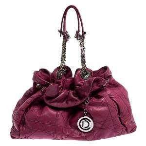 Christian Dior Magenta Cannage Leather Le Trente Shoulder Bag