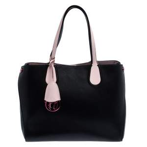 Dior Black/Pink Leather Small Dior Addict Shopper Tote