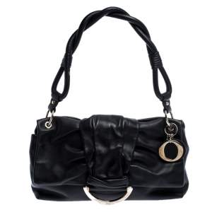 Dior Black Leather Bow Flap Shoulder Bag