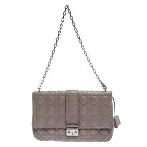 Dior Grey Cannage Leather Large Miss Dior Flap Bag