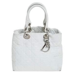 Dior White Leather Soft Lady Dior Tote