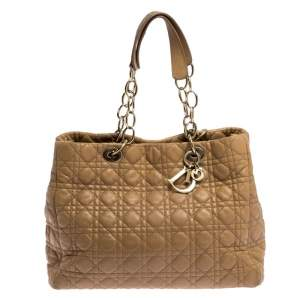 Dior Beige Cannage Quilted Leather Large Shopper Tote
