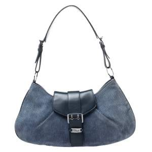 Dior Blue Denim Lady's Corduroy Blues Shoulder Bag