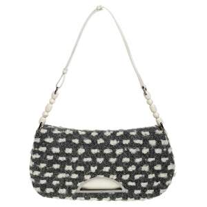 Dior Grey Tweed Limited Edition Beaded Malice Shoulder Bag