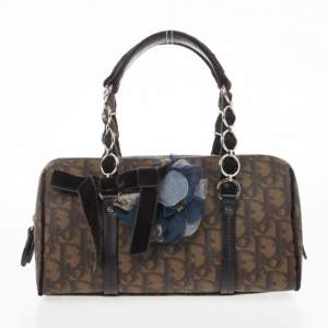Dior Brown Diorissimo Coated Canvas Trotter Romantique Satchel