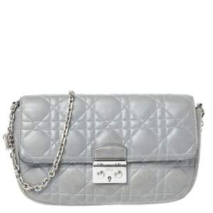 Dior Grey Quilted Leather Miss Dior Promenade Chain Bag