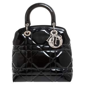 Dior Black Cannage Quilted Patent Leather Granville Tote