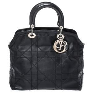 حقيبة يد توت ديور جرانفيل جلد كاناج مبطن أزرق سوداء