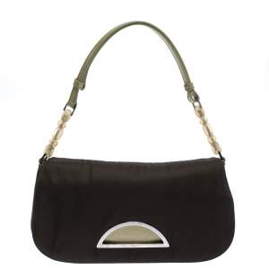 Dior Military Green Satin Malice Shoulder Bag