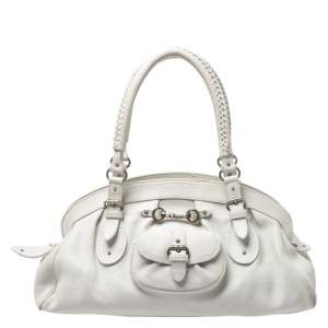 Dior White Leather Large My Dior Frame Satchel Bag