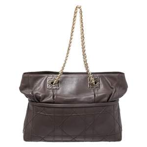 Dior Dark Brown Cannage Leather Granville Chain Link Tote