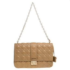 Dior Beige Cannage Leather Miss Dior Chain Shoulder Bag