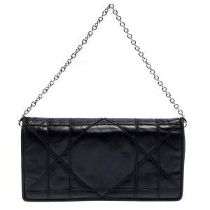 Dior Black Cannage Leather Chain Wallet