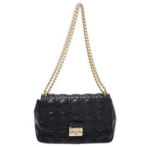 Dior Black Cannage Leather Miss Dior Medium Flap Bag