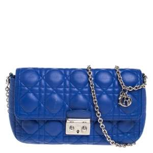 Dior Blue Cannage Quilted Leather Small Miss Dior Flap Bag