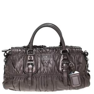 Prada Metallic Nappa Gaufre Leather Medium Datchel