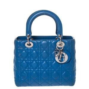 حقيبة يد ديور ليدي ديور متوسطة جلد زرقاء