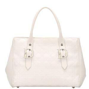 حقيبة يد ديور جلد كاناج أبيض