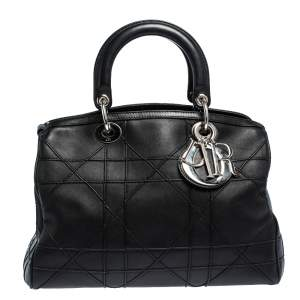Dior Black Cannage Leather Granville Polochon Satchel