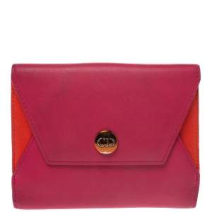 Dior Pink/Orange Leather Trifold Wallet