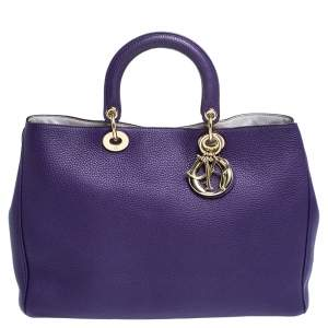 Dior Purple Leather Large Diorissimo Shopper Tote