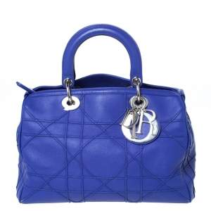 Dior Blue Cannage Leather Granville Polochon Satchel