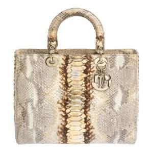 حقيبة ديور ليدي ديور كبيرة جلد ثعبان ذهبي و بيج