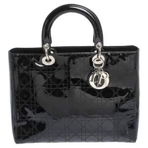 حقيبة يد ديور ليدي ديور كبيرة جلد لامعة كاناج سوداء
