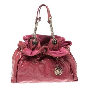Dior Magenta Cannage Patent Leather Le Trente Hobo