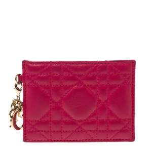 Dior Pink Cannage Leather Lady Dior Card Holder