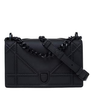 Dior Black Ultra Matte Leather Small Diorama Shoulder Bag