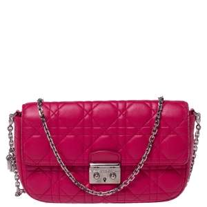Dior Magenta Cannage Quilted Leather Small Miss Dior Flap Bag